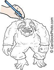 drawing big monster