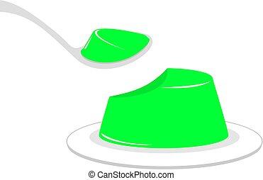 eating green tasty jelly illustration - Creative design of...