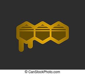 elegant golden honey comb icon