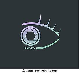 elegant half eye photo icon