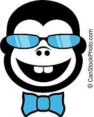 elegant monkey with glasses draw