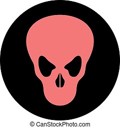 fear red skull circle icon