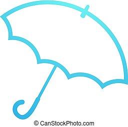 flat blue umbrella icon