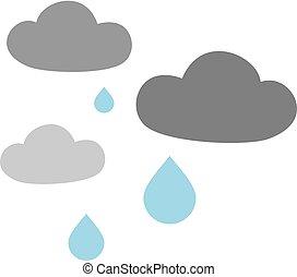 flat raining clouds - Creative design of flat raining clouds