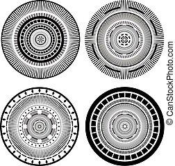 four circles decorative elements