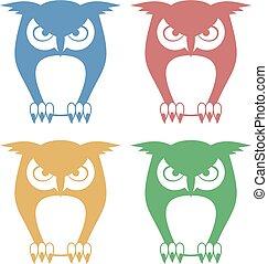 four color owls