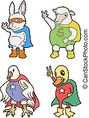 four funny animals heroes - Creative design of four funny...