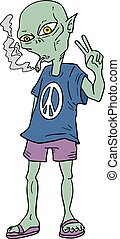 funny alien smoking