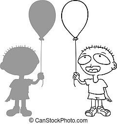 funny boy with balloon