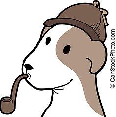 funny detective dog illustration