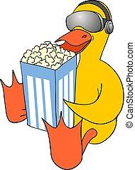funny duck eating popcorn