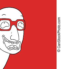 funny man with glasses draw
