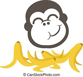 funny monkey eating babanas