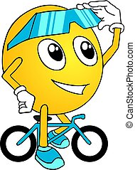 funny puppet with bike