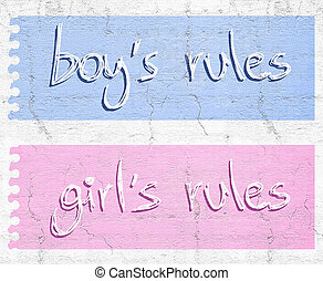 Girl and boy rules - Creative design of Girl and boy rules