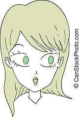 girl surprised face draw