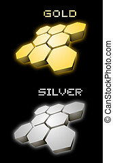 gold and silver emblem
