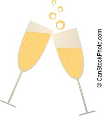 golden champagne toast illustration