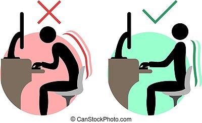 good and bad back sitting symbols