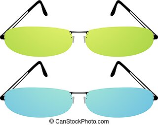 green and blue elegant eyeglasses