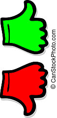 Green and red hands