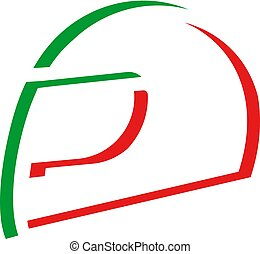green and red italian helmet icon