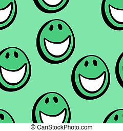 green happy faces seamless