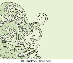 green monster tentacles illustration