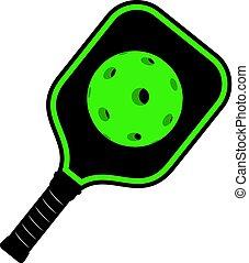 Creative design of green Pickleball racket icon