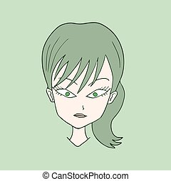 green woman face draw