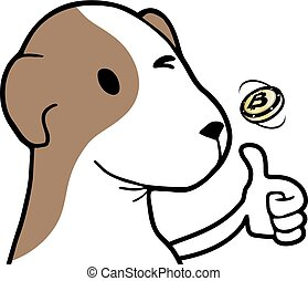 happy dog with coin
