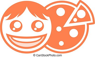 happy face and pizza symbol