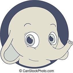 happy face elephant draw