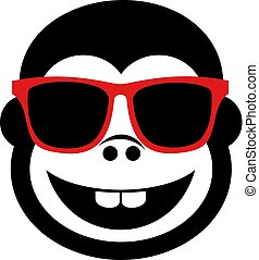 happy gorilla face with sunglasses