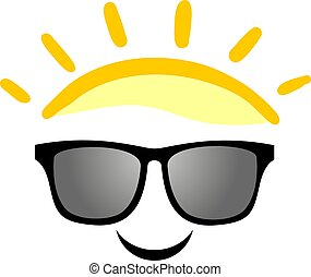 happy sunglasses face illustration