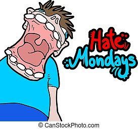 hate mondays crazy expression - Creative design of hate...