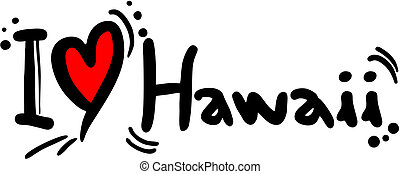 Creative design of Hawaii love