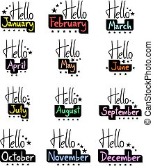 hello months set collection - Creative design of hello...