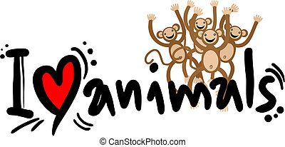 I love animals - Creative design of I love animals message