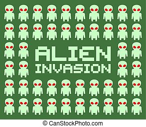 imaginative alien invasion draw art - Creative design of...
