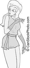imaginative draw of surprised girl
