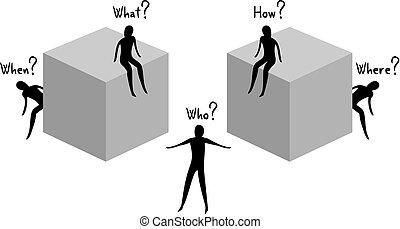 imaginative questions illustration - Creative design of...