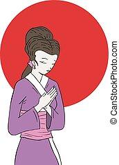 japanese woman draw