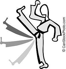 karate kick fighter illustration