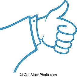 like blue hand symbol