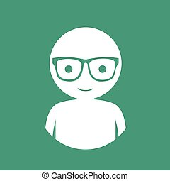 man with glasses flat icon