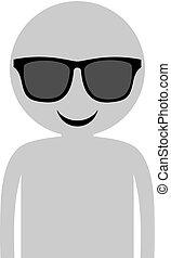man with sunglasses draw