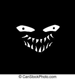 monster funny face in dark