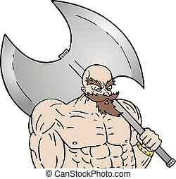 muscle warrior with big ax - Creative design of muscle...
