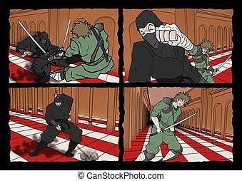 ninja and samurai comic page